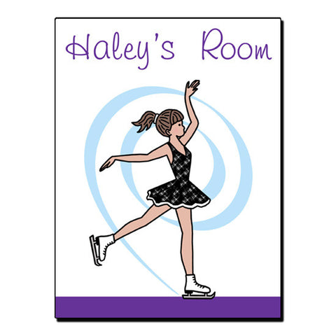 Ice Skating Room Sign -  Dainty Swirl Skater