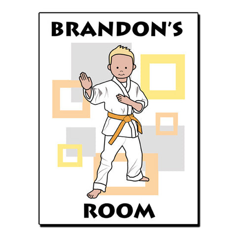 Martial Arts or Karate Kid Room Sign - Boy