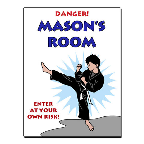 Karate or Martial Arts Boy Room Sign - Kick Design