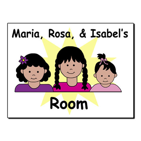 Cartoon Sisters Room Sign - 2 or 3 kids