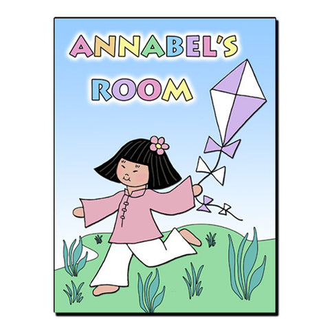 Asian Kite Girl Room Sign