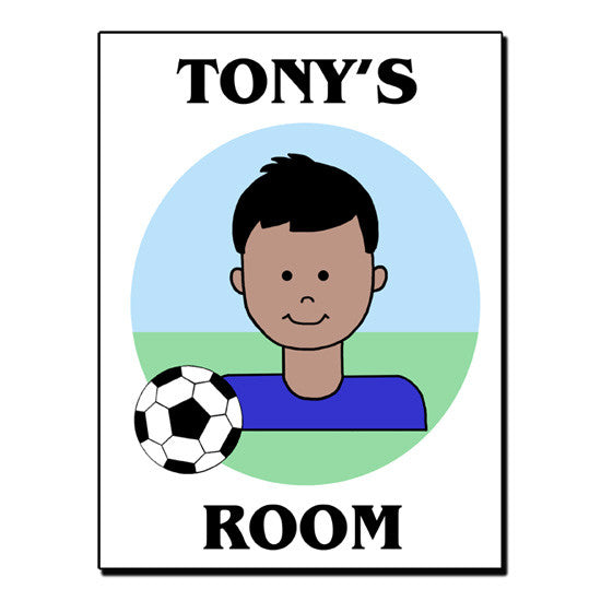 Soccer Kid Personalized Room Sign - Boy
