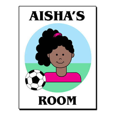 Soccer Kid Room Sign - Girl