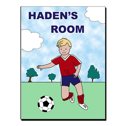 Soccer Player Room Sign - Boy