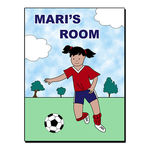 Soccer Player Room Sign - Girl