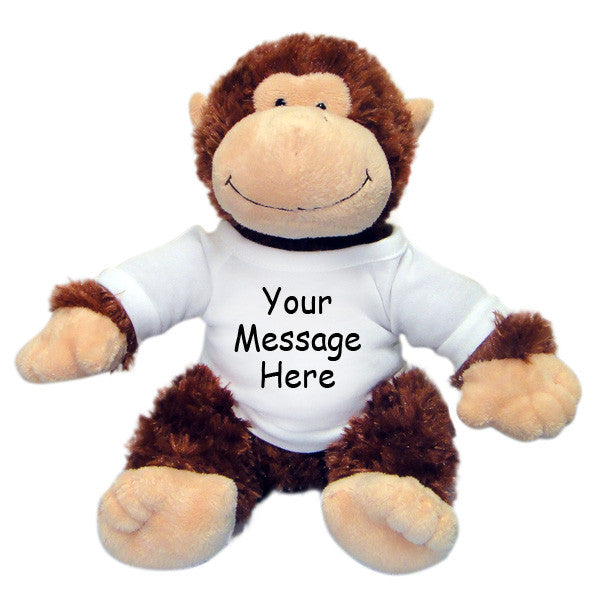 "Personalized Stuffed Monkey - Aurora Plush 12"" Chimp"