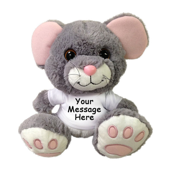 "Personalized Stuffed Mouse - 10"" Aurora Plush Scurry Mouse"