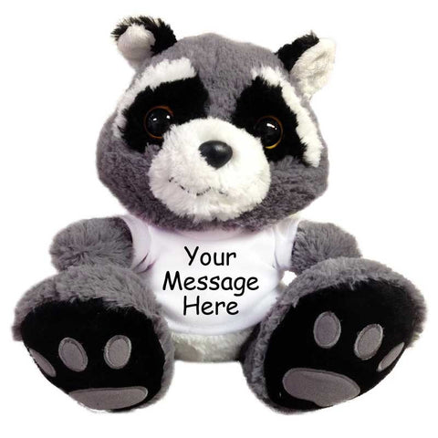"Personalized Stuffed Racoon - 10"" Aurora Plush Racer Raccoon"