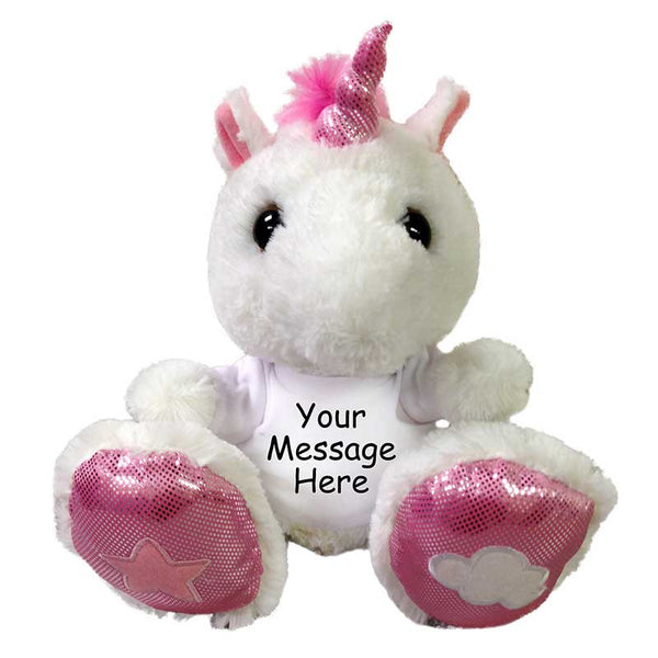 "Personalized Stuffed Unicorn - 10"" Taddle Toes"