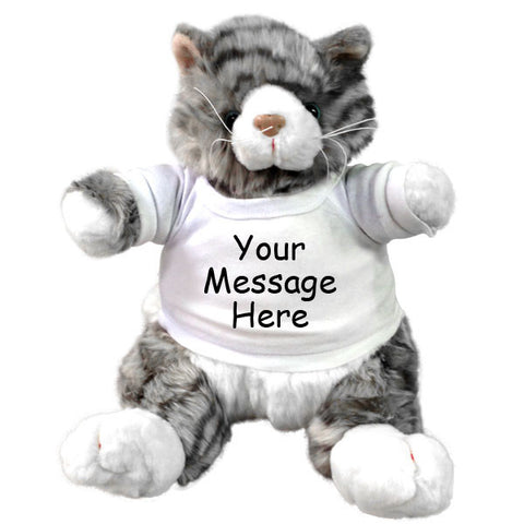 Personalized Stuffed Cat - 9 inch Grey Plumpee Tabby Cat