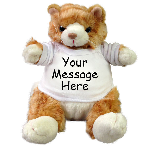 Personalized Stuffed Cat - 9 inch Orange Plumpee Tabby Cat