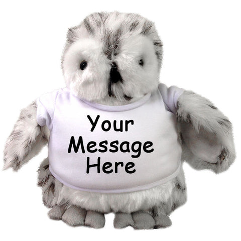 Personalized Stuffed Owl- 9 inch Plumpee Grey and White Owl