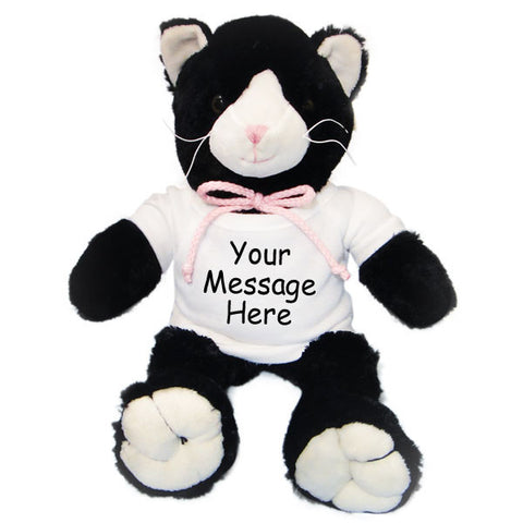 Personalized Stuffed Cat - Black and White, 12""