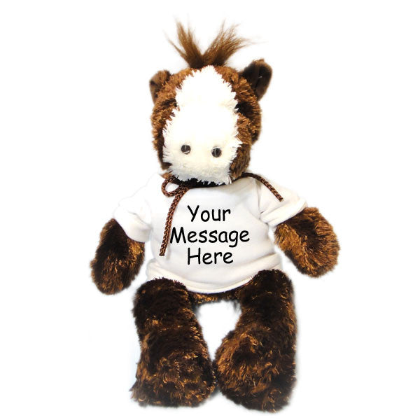 Personalized Stuffed Horse - Brown, 12""