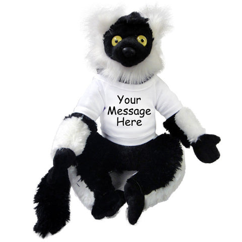 Personalized Stuffed Lemur Monkey - 12 inch Wild Republic Black Lemur