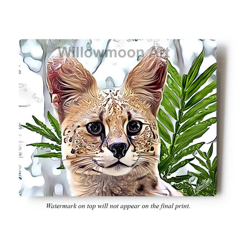 Serval Cat Metal Art Print by Willowmoon Art