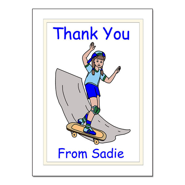 Skateboard Girl Personalized Thank You Note Cards