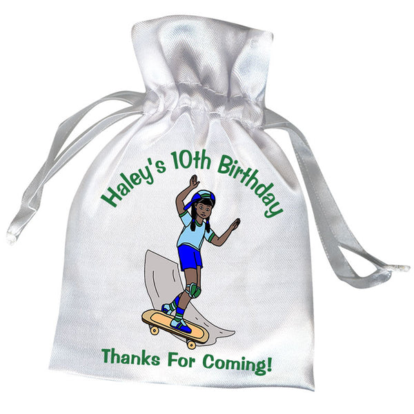 Skateboard Girl Personalized Birthday Party Favor Bags