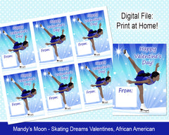 Ice Skating Dreams Valentine Cards - African American - Digital Print at Home Valentines cards, Instant Download