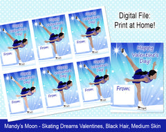 Ice Skating Dreams Valentine Cards - Black Hair, Medium Skin - Digital Print at Home Valentines cards, Instant Download