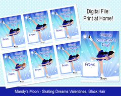 Ice Skating Dreams Valentine Cards - Black Hair - Digital Print at Home Valentines cards, Instant Download