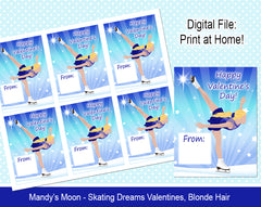 Ice Skating Dreams Valentine Cards - Blonde Hair - Digital Print at Home Valentines cards, Instant Download