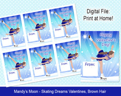 Ice Skating Dreams Valentine Cards - Brown Hair - Digital Print at Home Valentines cards, Instant Download