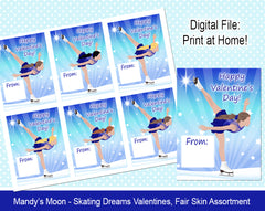 Ice Skating Dreams Valentine Cards - Fair Skin Assortment - Digital Print at Home Valentines cards, Instant Download
