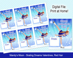 Ice Skating Dreams Valentine Cards - Red Hair - Digital Print at Home Valentines cards, Instant Download