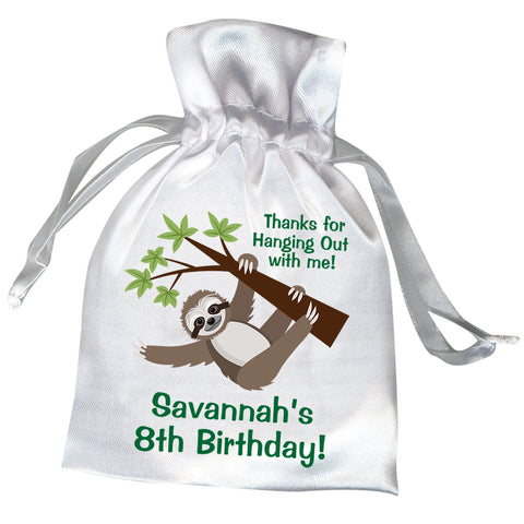 Sloth Personalized Satin Party Favor Bag
