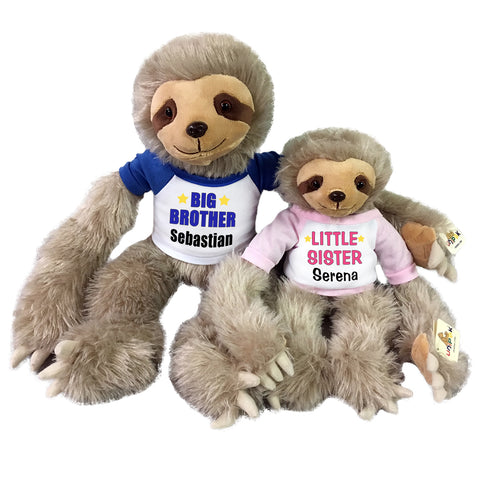 "Big Brother / Little Sister Personalized stuffed Sloths - Set of 2 Tan sloths, 18"" and 12"""