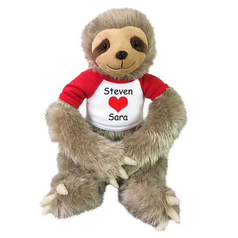 "Personalized Valentine Sloth - 18"" Tan Unipak Plush Sloth"