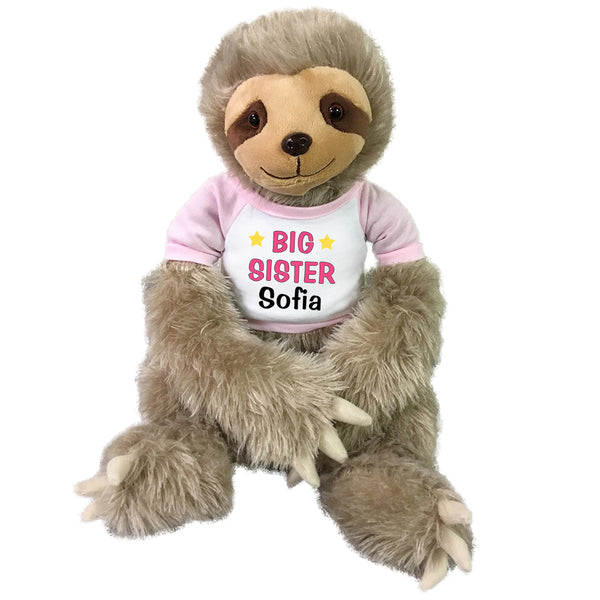 "Big Sister Personalized Stuffed Sloth - 18"" Tan Unipak Plush Sloth"