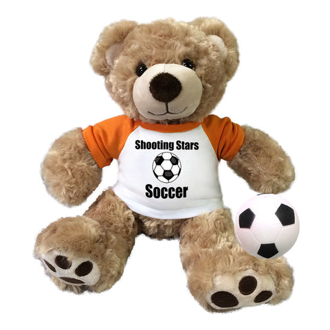 "Personalized Soccer Teddy Bear - 13"" Honey Vera Bear"