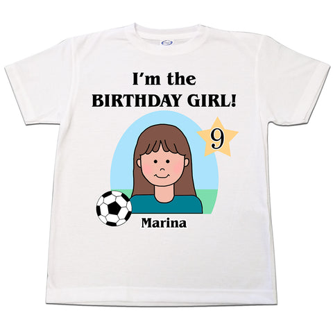 Soccer Kid Personalized Birthday T Shirt - Girl