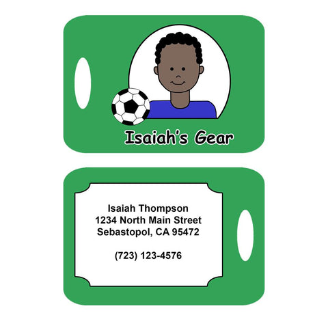 Soccer Kid Personalized Bag Tag for Boys