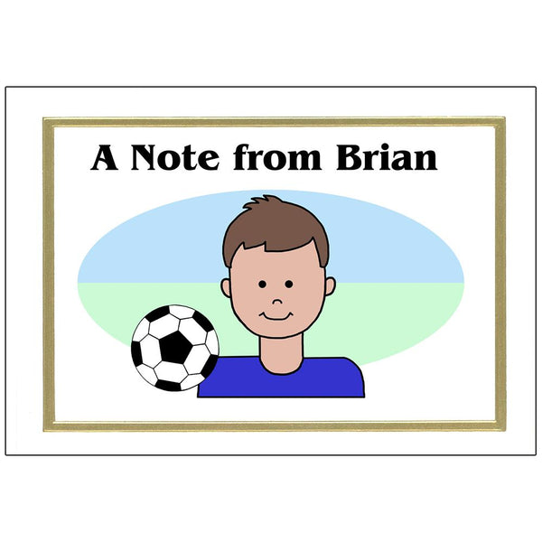 Soccer Kid Personalized Thank You Note Cards for Boys