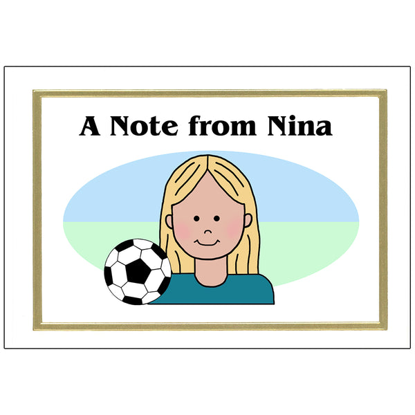 Soccer Kid Personalized Thank You Notes for Girls