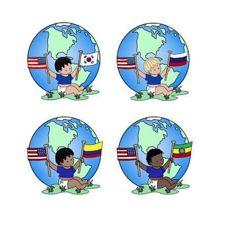 Round Flag Baby Adoption Stickers - Boy