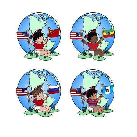 Round Flag Baby Adoption Stickers - Girl