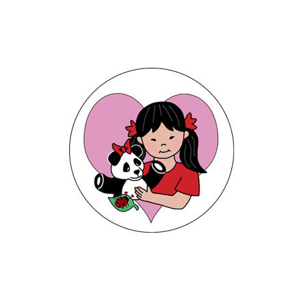 Round Panda Girl Adoption Stickers