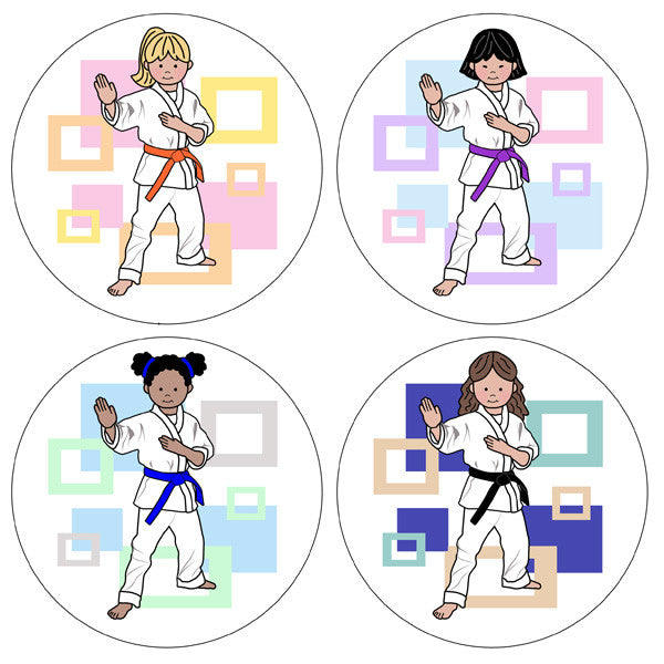 Martial Arts or Karate Kid Stickers - Girl