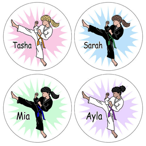 Karate or Martial Arts Girl Stickers - Kick Design