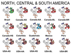 Examples of adoption storks with baby girls from North, South, and Central America
