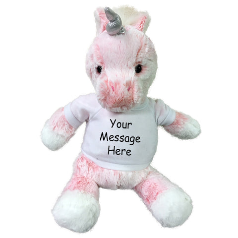 "Personalized Stuffed Pink Unicorn - 11"" Aurora Plush Frothy Unicorn"
