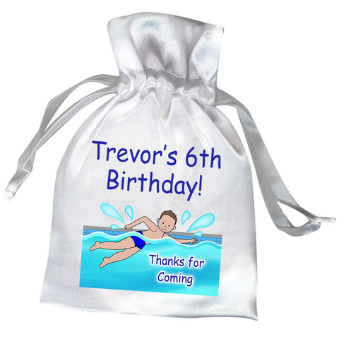 Swimming Boy Pool Party Favor Bag