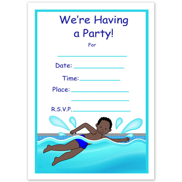 Swimming Boy Fill In the Blank Birthday Party Invitations