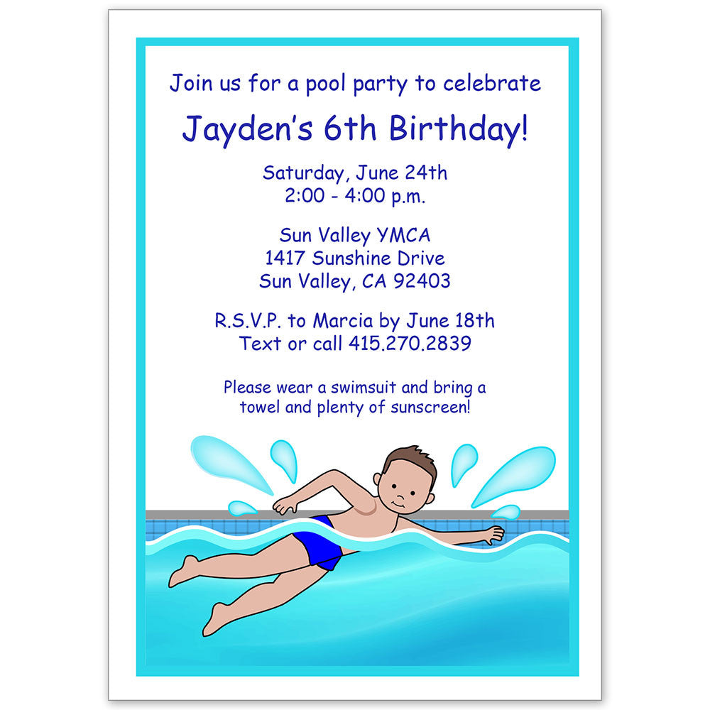 swimming boy party invitation mandys moon personalized gifts