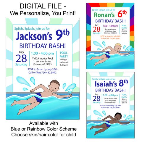 Swimming Boy Party Invitation - DIGITAL FILE