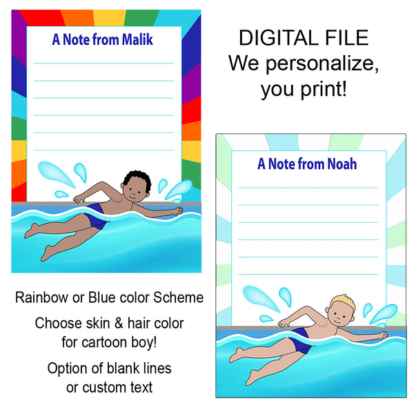 Swimming Boy Thank You Notes - DIGITAL FILE